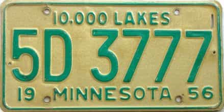 1956 Minnesota  (Single) license plate for sale