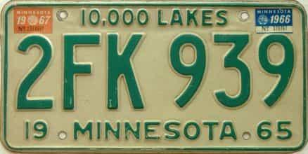 1967 Minnesota  (Single) license plate for sale
