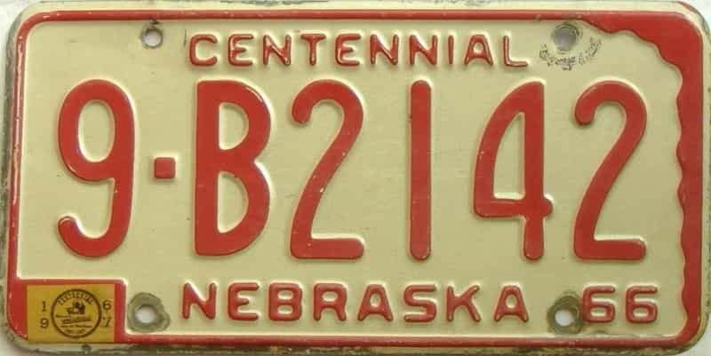 1967 Nebraska  (Single) license plate for sale