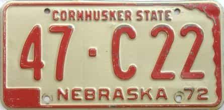1972 Nebraska  (Single) license plate for sale
