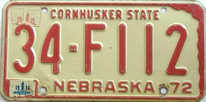 1975 Nebraska  (Single) license plate for sale