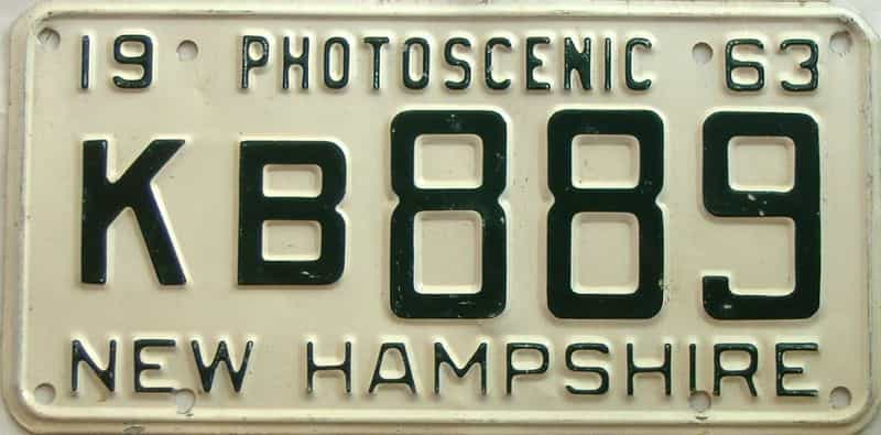 1963 New Hampshire  (Single) license plate for sale