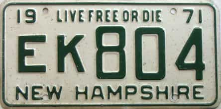 1971 New Hampshire  (Single) license plate for sale