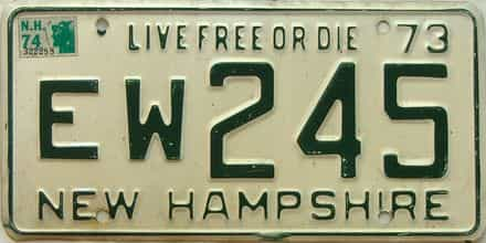1974 New Hampshire  (Single) license plate for sale