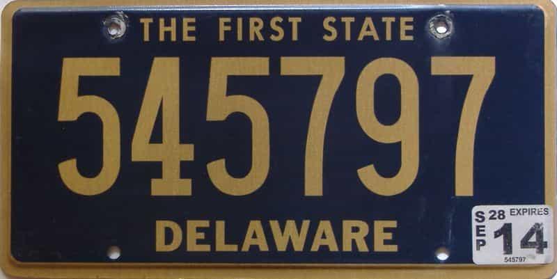 2014 Delaware license plate for sale