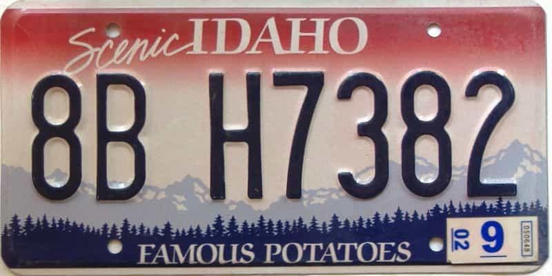 2002 Idaho  (Single) license plate for sale