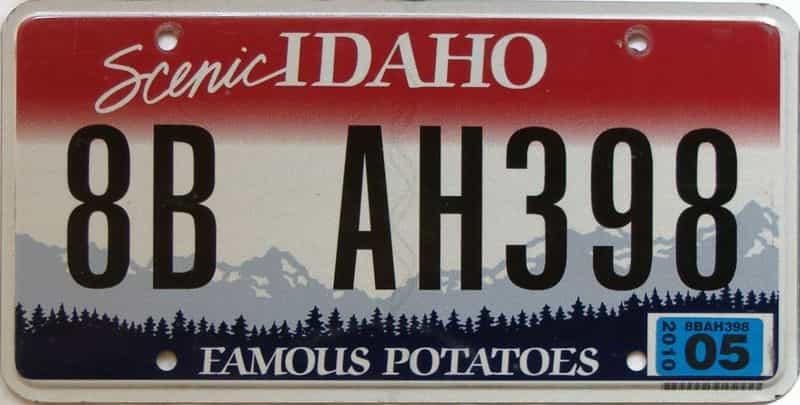 2010 Idaho  (Single) license plate for sale