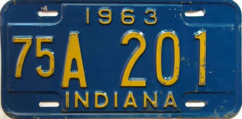 1963 Indiana license plate for sale
