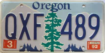 1992 Oregon  (Single) license plate for sale