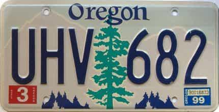 1999 Oregon  (Single) license plate for sale
