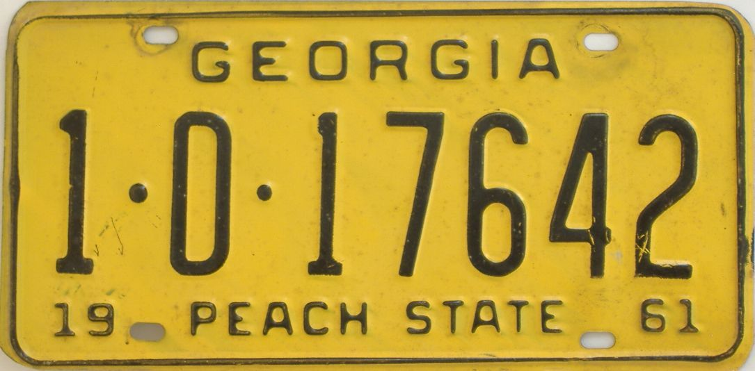 YOM 1961 Georgia license plate for sale