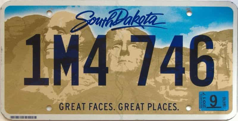 2017 South Dakota  (Single) license plate for sale