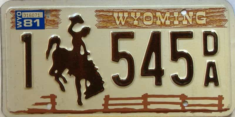 1981 Wyoming  (Single) license plate for sale