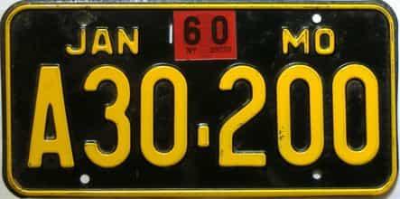 1960 Missouri license plate for sale