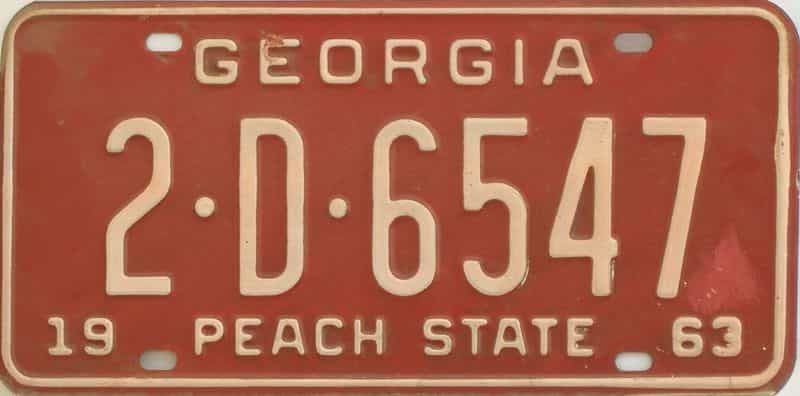 YOM 1963 GA license plate for sale
