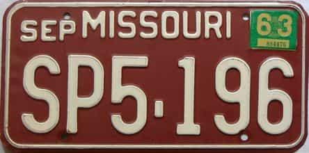 1963 Missouri license plate for sale