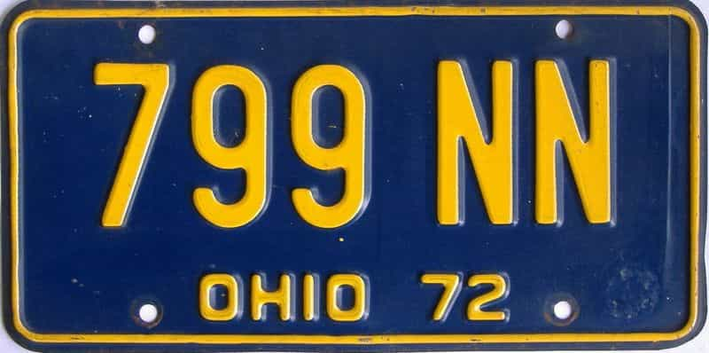 1972 OH (Single) license plate for sale