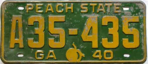 YOM 1940 Georgia  (Single) license plate for sale