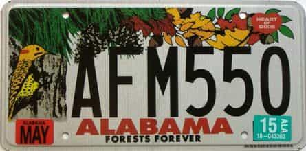 2015 Alabama license plate for sale