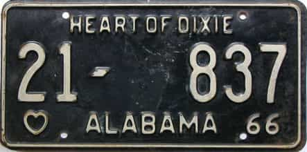 1966 Alabama license plate for sale