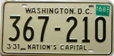 1968 District Of Columbia  (Single) license plate for sale