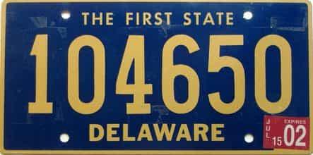 2002 Delaware license plate for sale