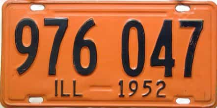 1952 Illinois  (Single) license plate for sale