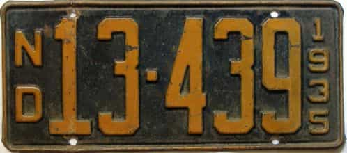1935 North Dakota  (Single) license plate for sale