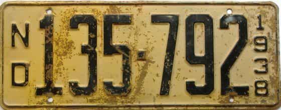 1938 North Dakota  (Single) license plate for sale