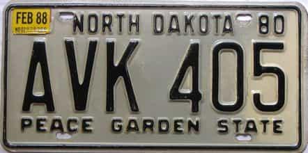 1988 North Dakota  (Single) license plate for sale