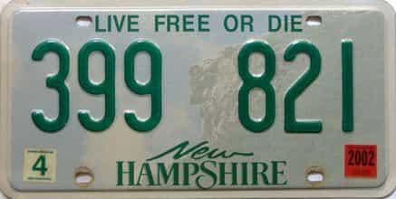 2002 New Hampshire  (Single) license plate for sale