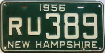 1956 New Hampshire  (Single) license plate for sale