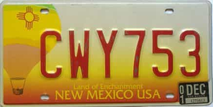 2001 New Mexico license plate for sale