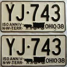 1938 Ohio  (Pair) license plate for sale