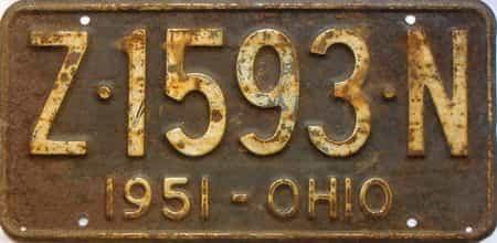 1951 Ohio  (Single) license plate for sale