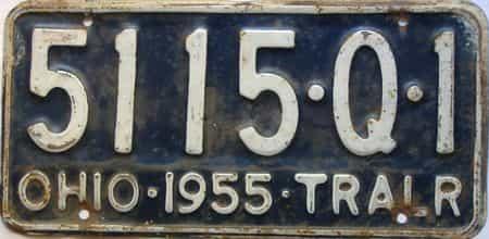1955 Ohio  (Trailer) license plate for sale