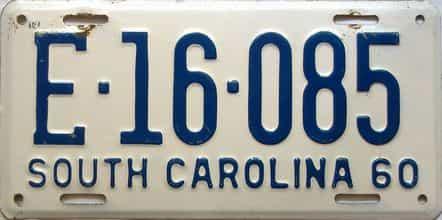 1960 South Carolina  (Single) license plate for sale