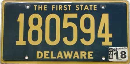 2018 Delaware license plate for sale
