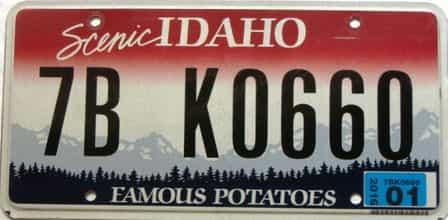 2016 Idaho  (Single) license plate for sale
