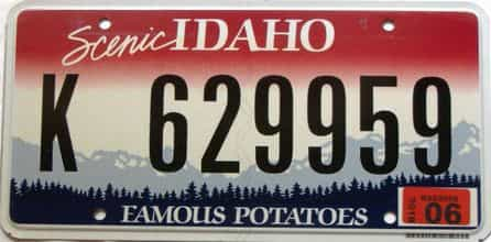 2018 Idaho  (Single) license plate for sale