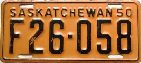 1950 Saskatchewan  (Single) license plate for sale