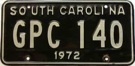 1972 South Carolina  (Single) license plate for sale