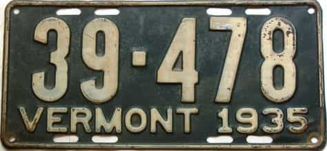 1935 Vermont  (Single) license plate for sale