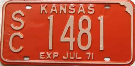 1971 Kansas license plate for sale