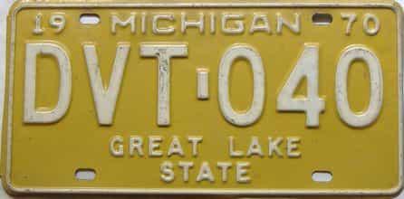 1970 Michigan  (Single) license plate for sale
