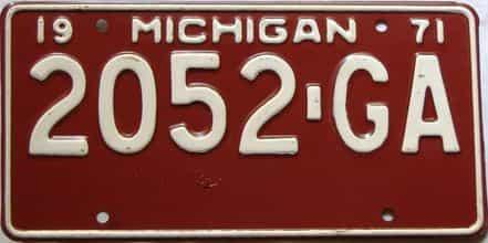 1971 Michigan  (Truck) license plate for sale