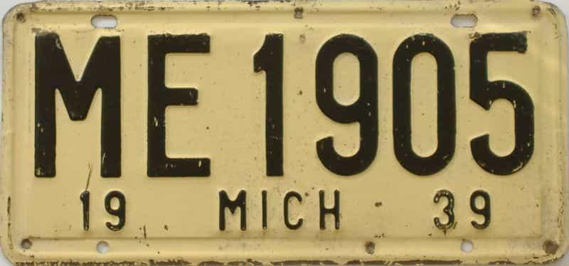 1939 MI (Single) license plate for sale