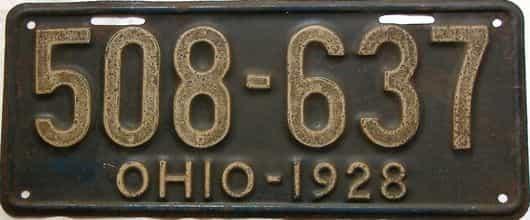 1928 Ohio  (Single) license plate for sale