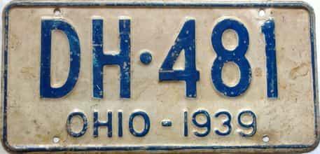 1939 Ohio  (Single) license plate for sale
