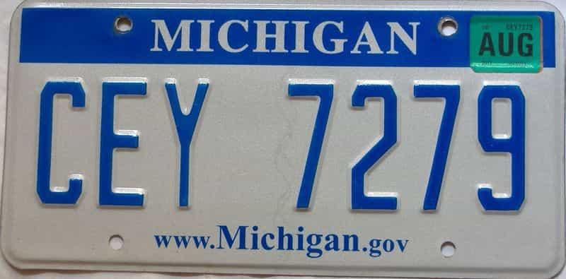 2012 Michigan license plate for sale